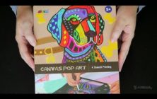 ASMR Art & Craft | Canvas Pop Art Painting of a Dog (close-up, no talking)